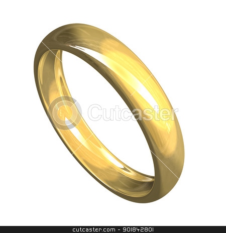 isolated wedding ring in gold (3D)  stock photo, isolated wedding ring in gold (3D)  by Fabrizio Zanier