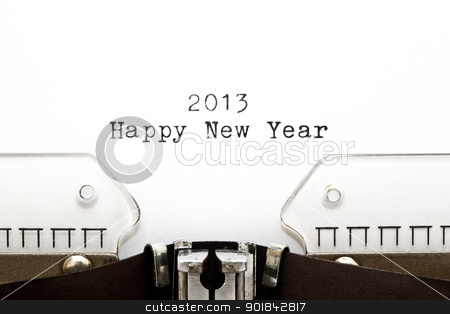 Typewriter 2013 Happy New Year stock photo, Concept image with 2013 Happy New Year written on an old typewriter