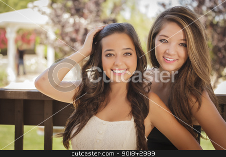 Attractive Mixed Race Girlfriends Smile Outdoors stock photo, Two Attractive Mixed Race Girlfriends Smile Outdoors. by Andy Dean