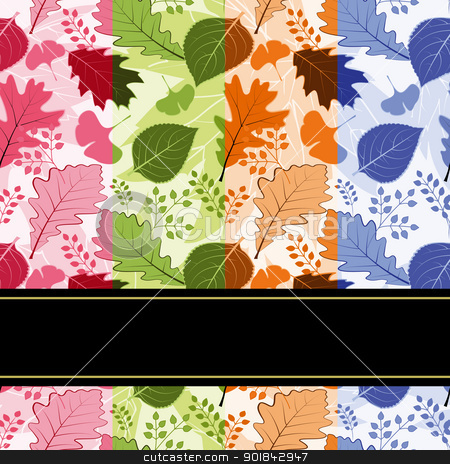 Colorful four season leaves seamless pattern stock vector clipart, Colorful four season leaves seamless pattern background by meikis
