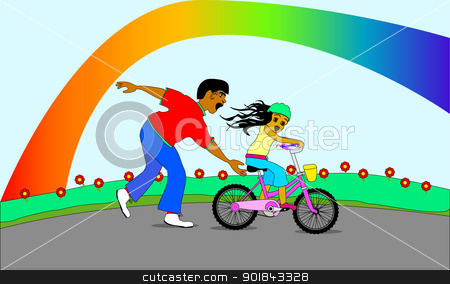 Father and Daughter. stock vector clipart, A father teaching his daughter how to ride a bicycle with rainbow in the background. by Kotto