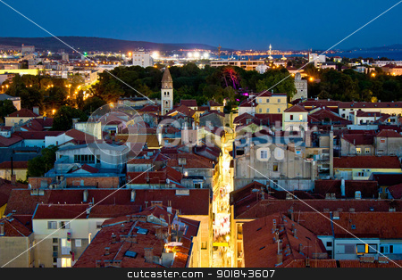 Zadar peninsula calle larga panorama in evening stock photo, Zadar peninsula calle larga panorama in evening, Dalmatia, Croatia by xbrchx