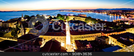 Adriatic city of Zadar aerial panorama stock photo, Adriatic city of Zadar aerial panorama on evening by xbrchx