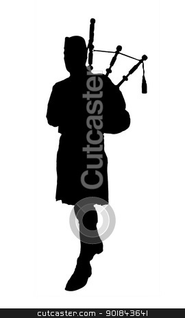 Silhouette of bagpiper stock photo, Large photo of isolated silhouette of bagpipe player by vaximilian