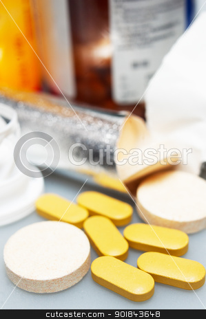 vitamin pills  stock photo, selection of different type vitamin pills closeup by Francesco Perre