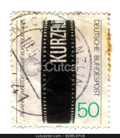GERMANY - CIRCA 1979 : A stamp printed in Germany shows film cin stock photo, GERMANY - CIRCA 1979 : A stamp printed in Germany shows film cinema, circa 1979  - by Fabrizio Zanier
