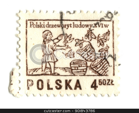 POLAND - CIRCA 1963: A stamp printed in Poland shows beekeeper,  stock photo, POLAND - CIRCA 1963: A stamp printed in Poland shows beekeeper, circa 1963 - by Fabrizio Zanier
