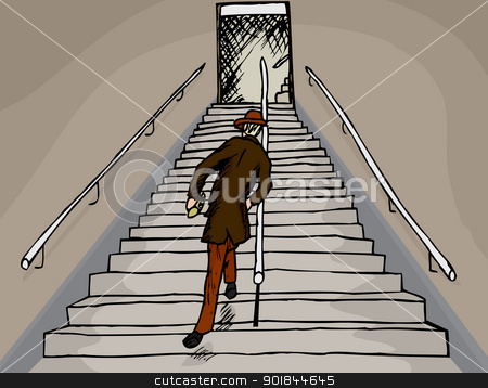 Drunken Man on Stairs stock vector clipart, Drunken businessman staggers up a long staircase by Eric Basir