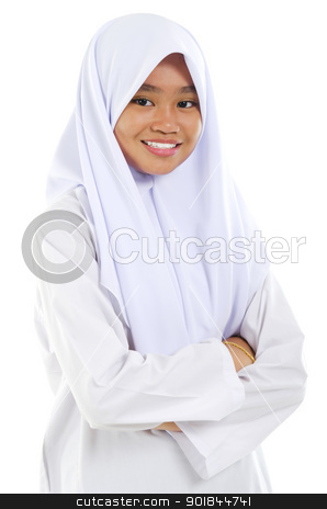 Muslim teen stock photo, Portrait of a Southeast Asian Muslim teen crossed arms over white background by szefei
