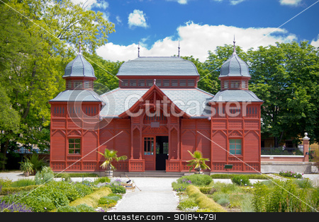 Zagreb botanical garden public pavilion stock photo, Croatian capital of Zagreb botanical garden red wooden public pavilion by xbrchx