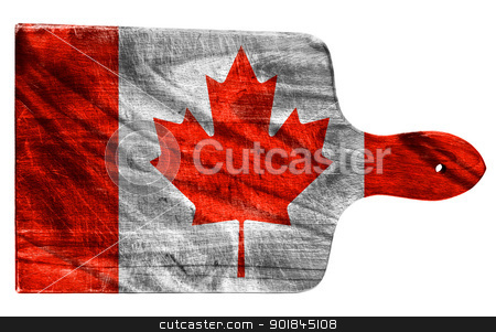 Canadian flag stock photo, Textured Canadian flag painted on old heavily used chopping or cutting board on white background by borojoint