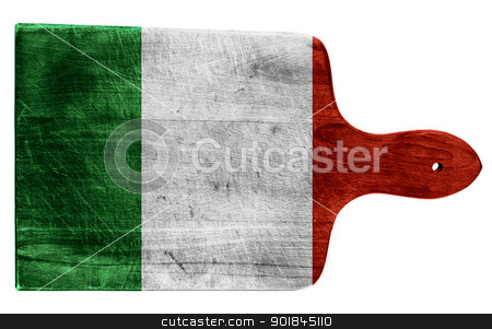 Flag of Italy stock photo, Textured Italian flag painted on old heavily used chopping or cutting board on white background by borojoint