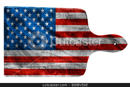 USA Flag stock photo, Textured American or USA flag painted on old heavily used chopping or cutting board on white background by borojoint