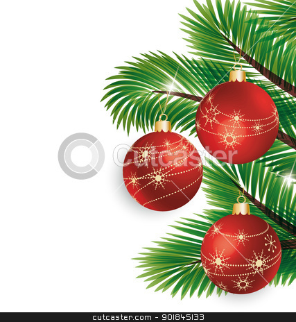 Christmas background stock vector clipart, Christmas tree with red Christmas balls, vector by Miroslava Hlavacova