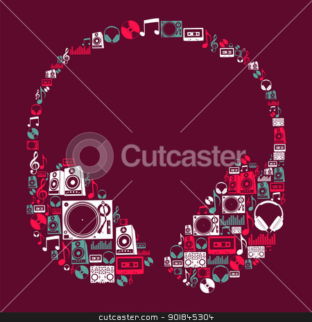 Dj Music icons headphone stock vector clipart, Dj music icon set in headphone shape. Vector file layered for easy manipulation and custom coloring. by Cienpies Design