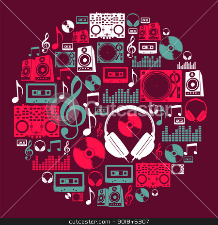 Dj Music icons circle stock vector clipart, Dj music icon set in circle shape. Vector file layered for easy manipulation and custom coloring. by Cienpies Design