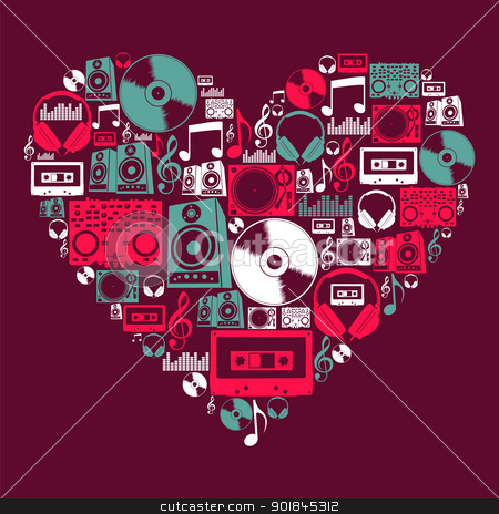 Dj Music icons love heart stock vector clipart, Dj music icon set in love heart shape. Vector file layered for easy manipulation and custom coloring. by Cienpies Design