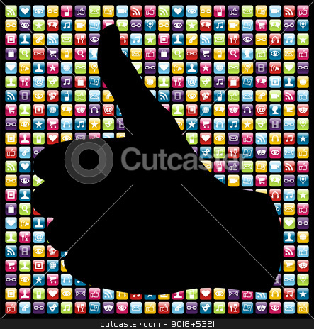 I like mobile phone app icons pattern stock vector clipart,  Thumb up hand in smartphone app icon set seamless pattern. Vector file layered for easy manipulation and customisation. by Cienpies Design