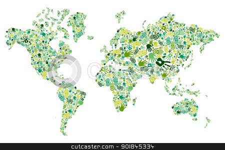 Go green hands World map stock vector clipart, Go green human hands icons in World map composition background. Vector file layered for easy manipulation and custom coloring by Cienpies Design