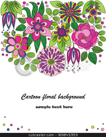 Decorative colorful cartoon flower illustration stock vector clipart, Decorative colorful cartoon vector background drawing with flowers by Allaya