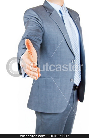 Handshake on an agreement stock photo, Business person extending hand to shake on greeting or deal by Stephen Laurence