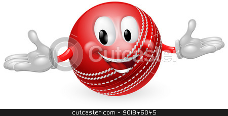 Cricket Ball Mascot stock vector clipart, Illustration of a cute happy cricket ball mascot man by Christos Georghiou
