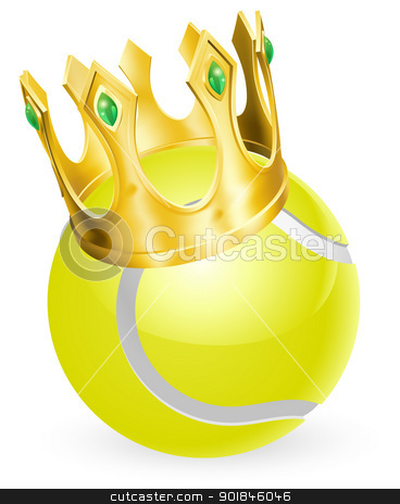 King of tennis stock vector clipart, King of tennis concept, a tennis ball wearing a gold crown by Christos Georghiou