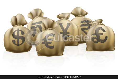 Foreign currency exchange sacks stock vector clipart, Lots of sacks with different currency signs, foreign currency exchange sacks by Christos Georghiou