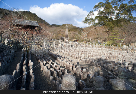 Adashino Nenbutsu-ji stock photo, Thousands of Buddha statues, each representing an unknown or forgotten person at Adashino Nenbutsu-ji temple, Kyoto, Japan by Stephen Gibson