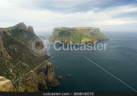 Tasman Island Cape Pillar stock photo, Tasman Island standing of the steep cliffs of Cape Pillar, Tasmanian coast, Australia by Stephen Gibson