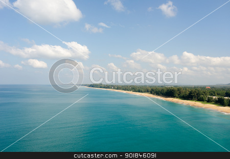 Aerial view of the tropical sandy sea coast stock photo, Aerial view of the tropical sandy sea coast with clear blue water by Iryna Rasko