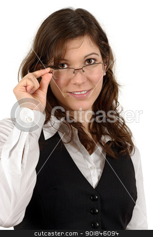 Business woman stock photo, Photo of a beautiful young business woman wearing eyeglasses and smiling.
