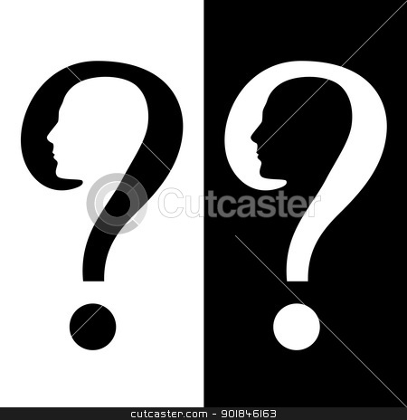 Symbol of Question stock photo, Symbol of Question. Illustration on white and black background by dvarg