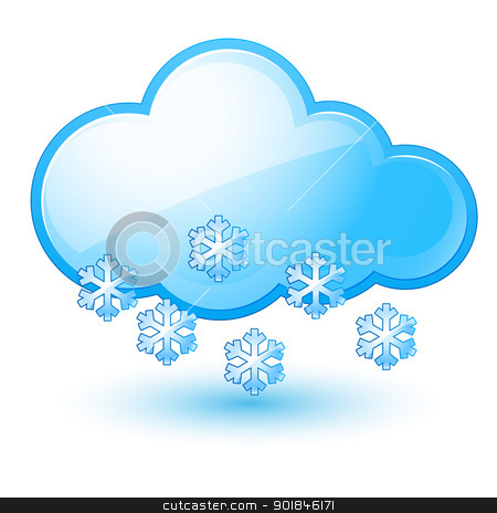 Cloud stock photo, Single weather icon - Cloud with Snow. Illustration on white by dvarg