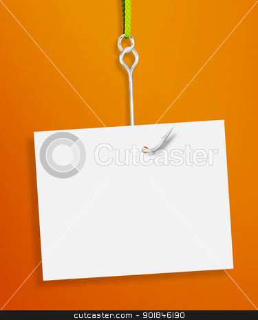 Empty paper  stock photo, Blank sheet of paper hanging on a fishing hook on orange background by Designsstock
