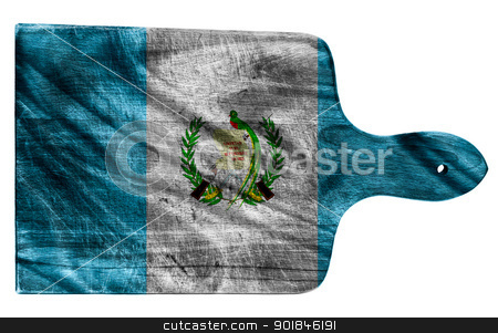 Guatemala flag stock photo, Textured Guatemala flag painted on old heavily used chopping or cutting board on white background by borojoint