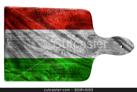 Hungarian flag stock photo, Textured Hungary flag painted on old heavily used chopping or cutting board on white background by borojoint