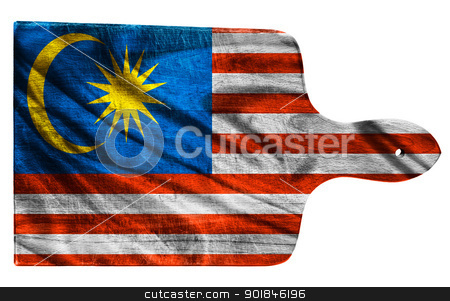 Malaysia flag stock photo, Textured Malaysia  flag painted on old heavily used chopping or cutting board on white background by borojoint