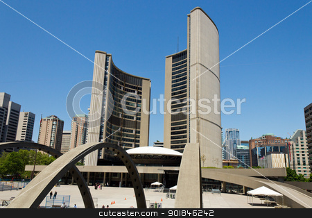 Toronto City Hall stock photo, Toronto City Hall designed by Finnish architect Viljo Revell. by Click Images