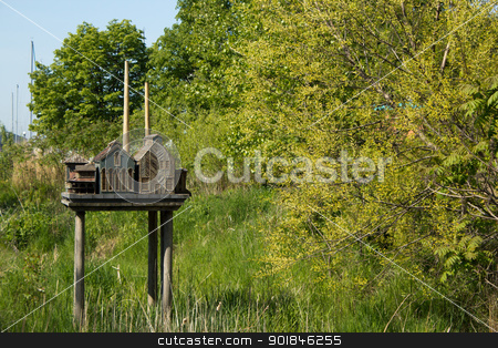 City replica birdhouse stock photo, City replica birdhouse on Toronto's Harbourfront. by Click Images