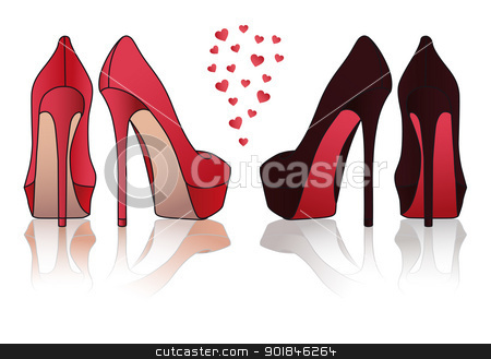 high heel stiletto shoes, vector stock vector clipart, red and black high heel stiletto shoes, vector illustration by Beata Kraus