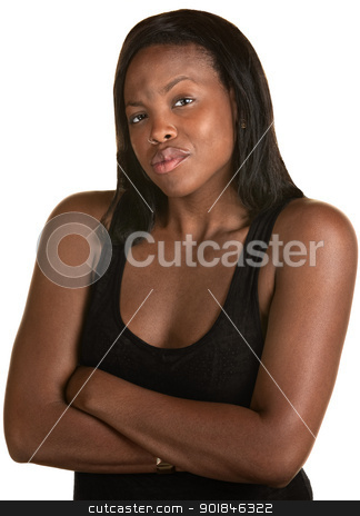 Pouting African Woman stock photo, Annoyed African woman pouting with arms folded by Scott Griessel