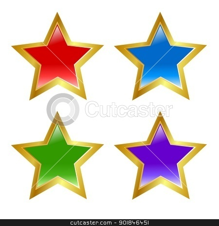 Set of colored buttons in star shape stock vector clipart, Set of colored buttons in star shape by Oleksandr Kovalenko