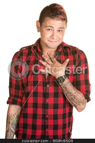 Blushing Man with Hand on Chest stock photo, Flattered young man over white with hand on chest by Scott Griessel