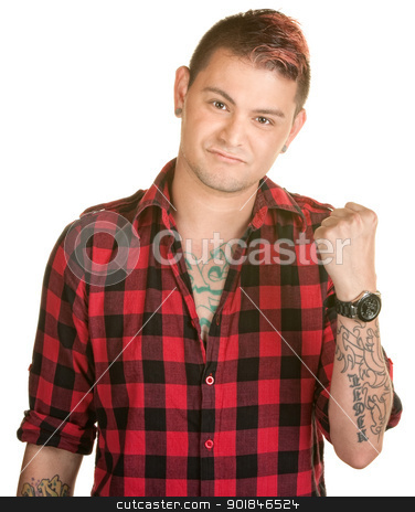 Man with Clenched Fist stock photo, Tough young man in flannel shirt with clenched fist by Scott Griessel