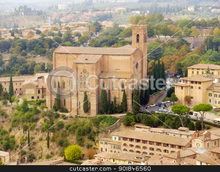 San Domenico Church stock photo, The San Domenico Church seen from the Torre del Mangio in Siena, Italy. by Click Images