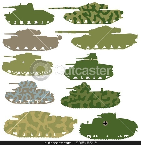 tanks stock vector clipart, vector set of tanks by Oleksandr Kovalenko