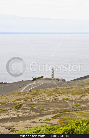 Volcano dos Capelinhos stock photo, Volcano dos Capelinhos with lighthouse, Faial island, Azores by dinozzaver