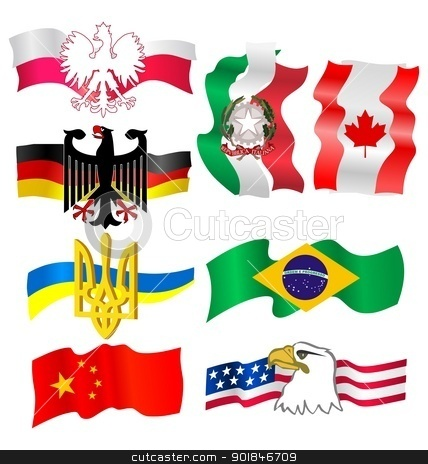 symbols of countries stock vector clipart, The set of the symbols different countries by Oleksandr Kovalenko