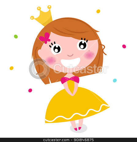 Cute Princess in yellow dress isolated on white stock vector clipart, Little cute happy princess. Vector cartoon Illustration by BEEANDGLOW